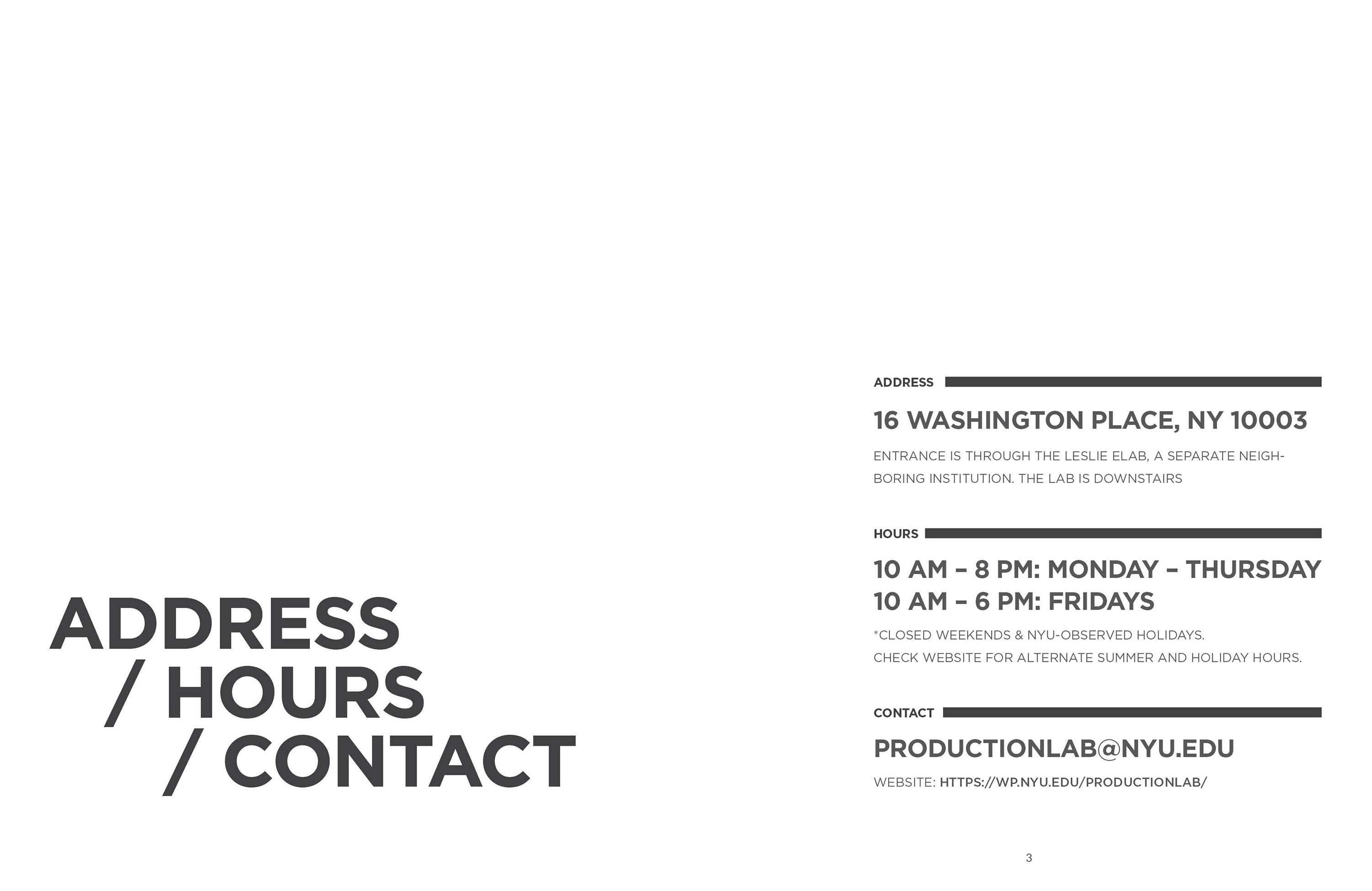 address hours contact page
